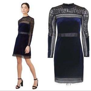 TopShop Sheath Velvet and Lace Dress